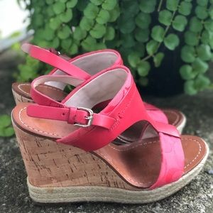 Authentic Coach Wedge Sandals Coral 6.5